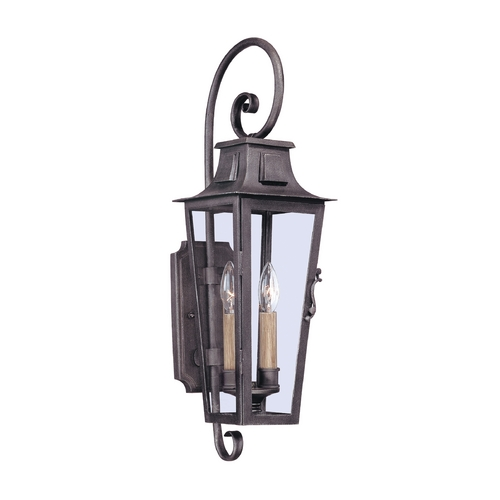 Troy Lighting Outdoor Wall Light with Clear Glass in Aged Pewter Finish B2962