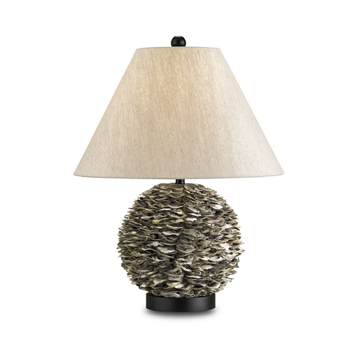 Currey and Company Lighting Table Lamp with Beige / Cream Shade in Natural/satin Black Finish 6863