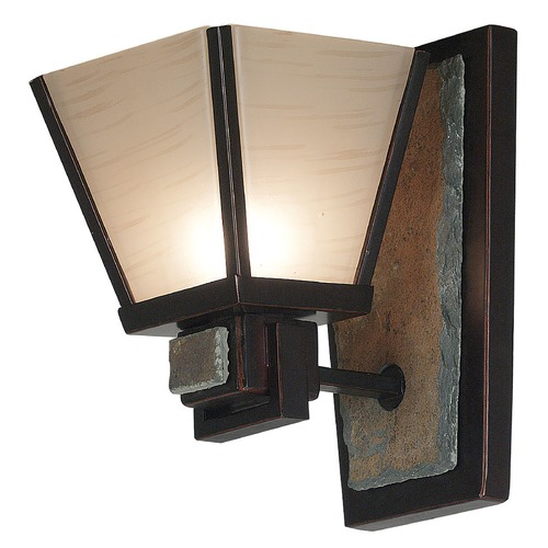 Kenroy Home Lighting Sconce Wall Light with Art Glass in Oil Rubbed Bronze Finish 91601ORB