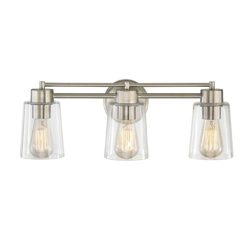 Design Classics Lighting Satin Nickel Bathroom Light 703-09 GL1027-CLR