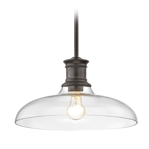 Design Classics Lighting Industrial Bronze Pendant Light with Clear Glass 14-Inch Wide 1761-220 G1784-CL