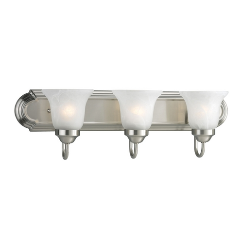 Progress Lighting Progress Bathroom Light with Alabaster Glass in Brushed Nickel Finish P3053-09EBWB