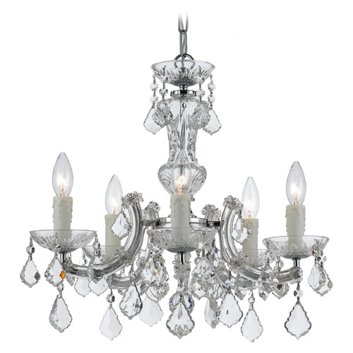 Crystorama Lighting Crystorama Maria Theresa 5-Light Crystal Chandelier in Polished Chrome 4376-CH-CL-SAQ