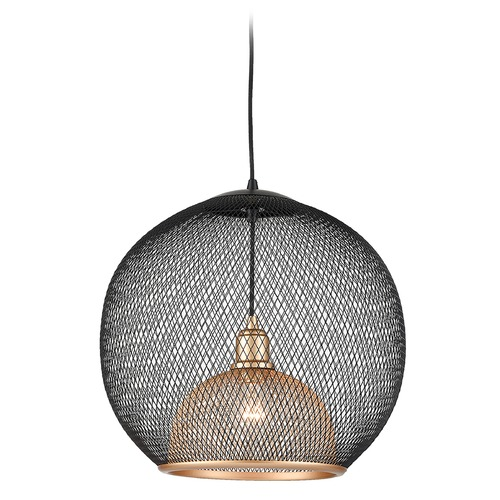 Kuzco Lighting Kuzco Lighting Gibraltar Black / Gold Pendant Light with Bowl / Dome Shade 494418-BK/GD
