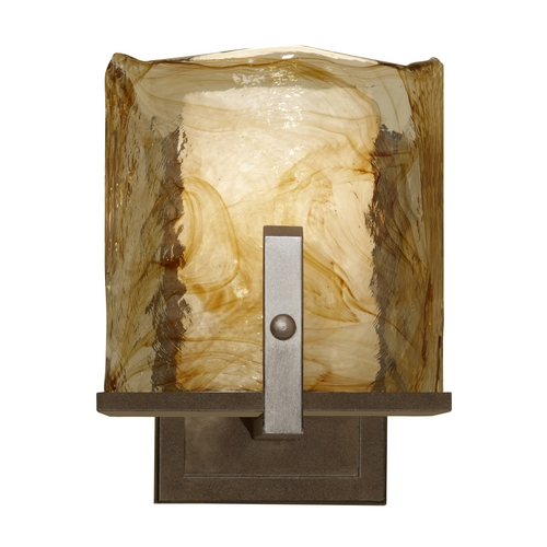 Feiss Lighting Modern Sconce Wall Light with Art Glass in Roman Bronze Finish WB1575RBZ
