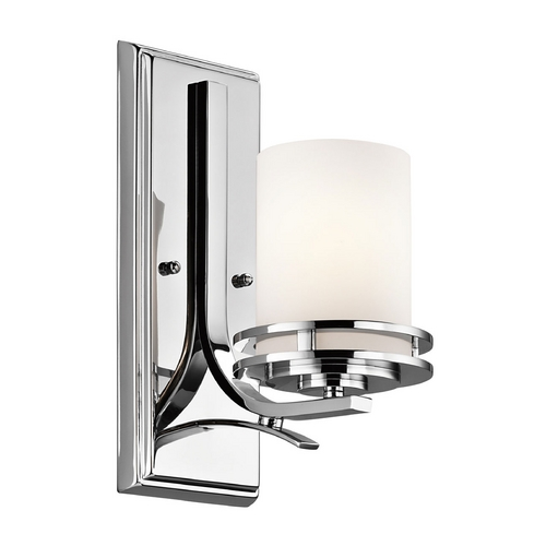 Kichler Lighting Kichler Modern Sconce Wall Light with White Glass in Chrome Finish 5076CH