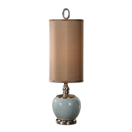 Uttermost Lighting Table Lamp with Brown Shade in Crackled Light Blue Finish 29279-1