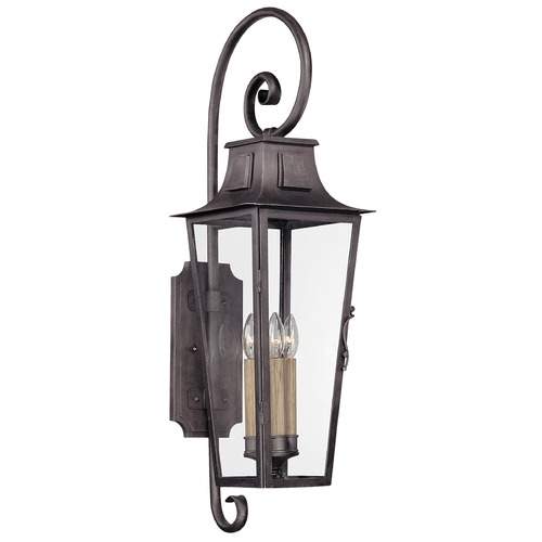 Troy Lighting Outdoor Wall Light with Clear Glass in Aged Pewter Finish B2963