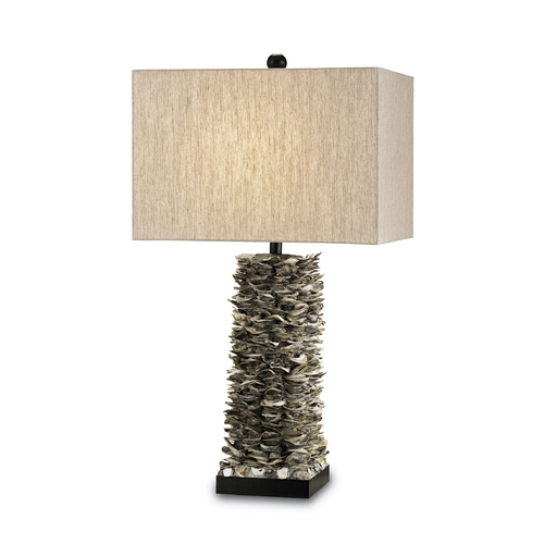 Currey and Company Lighting Table Lamp with Beige / Cream Shade in Natural/satin Black Finish 6862