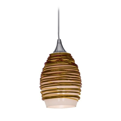 Access Lighting Adele Amber Glass Mini-Pendant with LED Bulb 23733-AMB/ 10W LED