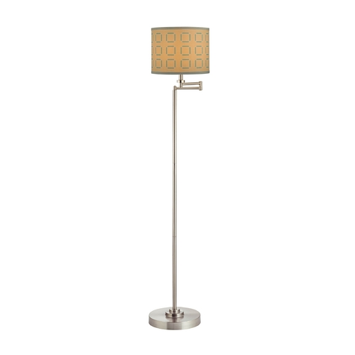 Design Classics Lighting Swing Arm Floor Lamp with Tan and Turquoise Drum Lamp Shade 1901-09 SH9545