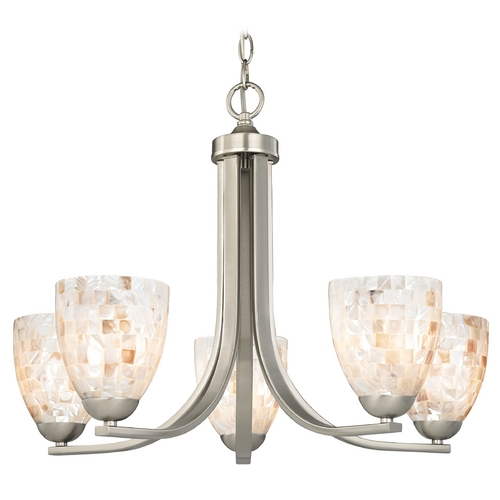 Design Classics Lighting Chandelier with Mosaic Glass in Satin Nickel Finish 584-09 GL1026MB