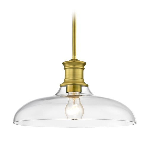 Design Classics Lighting Industrial Brass Pendant Light with Clear Glass 14-Inch Wide 1761-12 G1784-CL