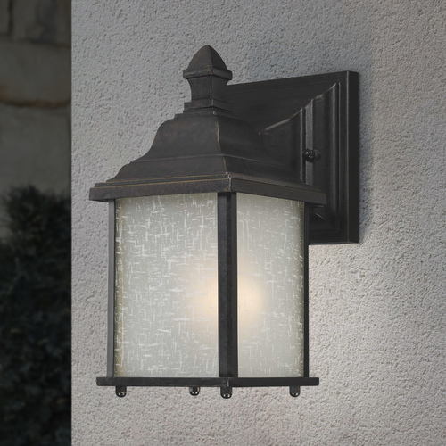 Dolan Designs Lighting Small Outdoor Wall Light with White Linen Glass - 9 Inches Tall 930-68