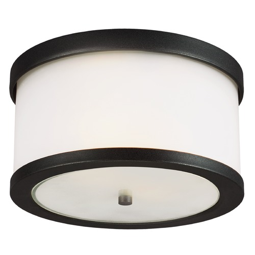 Sea Gull Lighting Sea Gull Lighting Bucktown Black Close To Ceiling Light 7822402-12