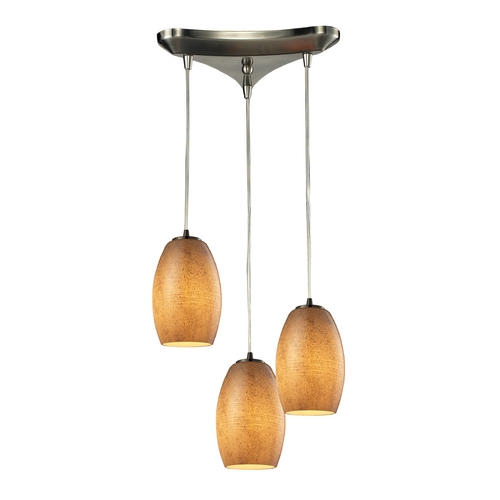 Elk Lighting Modern Multi-Light Pendant Light with Beige / Cream Glass and 3-Lights 10330/3TB