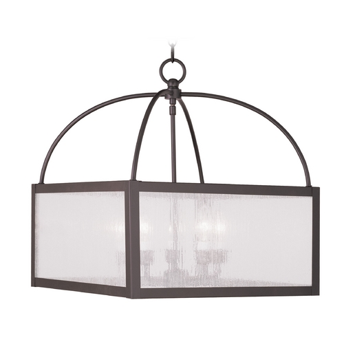 Livex Lighting Livex Lighting Milford Bronze Pendant Light with Square Shade 4057-07