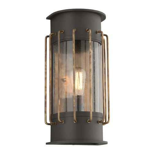 Troy Lighting Frosted Seeded Glass LED Outdoor Wall Light Bronze Troy Lighting BL4663