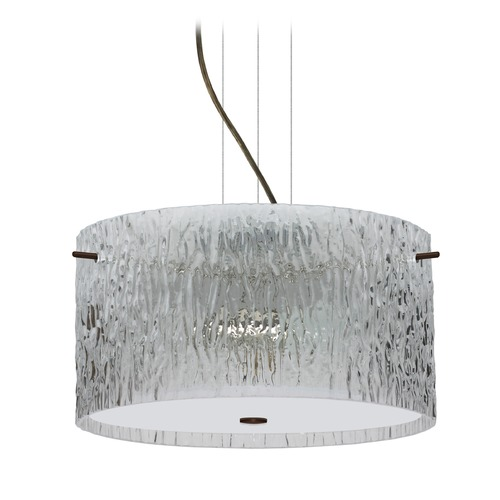 Besa Lighting Besa Lighting Tamburo Bronze LED Pendant Light with Drum Shade 1KV-400800-LED-BR