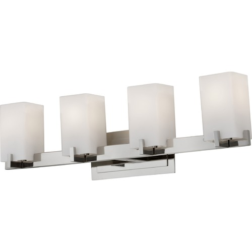 Feiss Lighting Modern Bathroom Light with White Glass in Polished Nickel Finish VS18404-PN