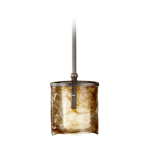 Feiss Lighting Modern Mini-Pendant Light with Art Glass P1230RBZ