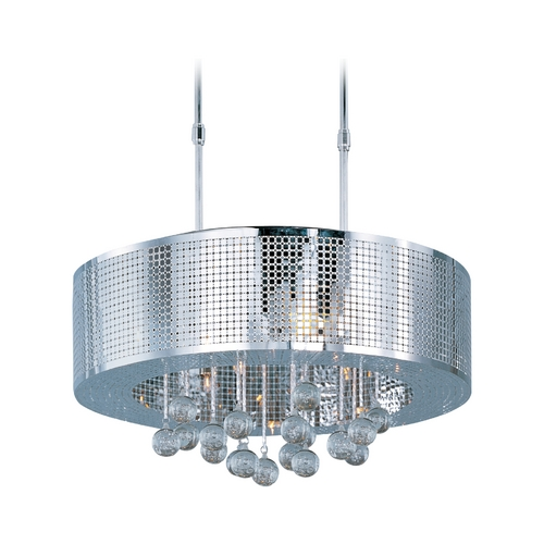 ET2 Lighting Modern Drum Pendant Light in Polished Chrome Finish E24387-91PC