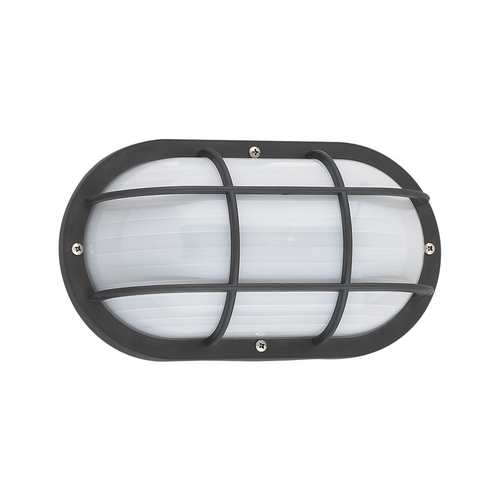 Sea Gull Lighting Energy Star Rated Oval Bulkhead Light Fixture with Ribbed Diffuser 89806BLE-12