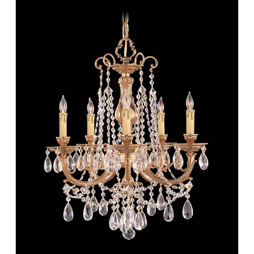 Crystorama Lighting Crystal Mini-Chandelier in Olde Brass Finish 475-OB-CL-SAQ