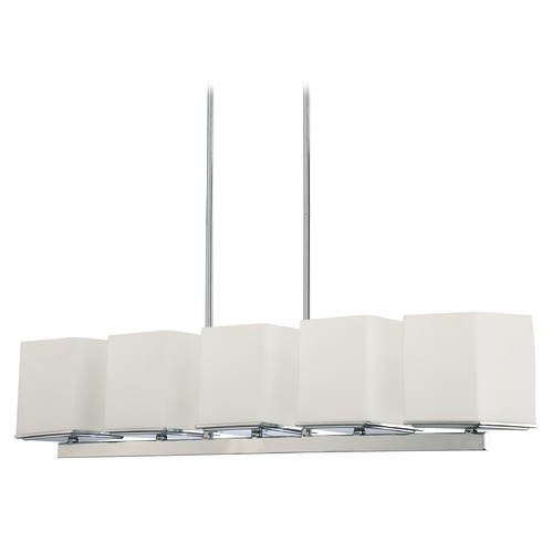 Nuvo Lighting Modern Island Light with White Glass in Polished Chrome Finish 60/4091