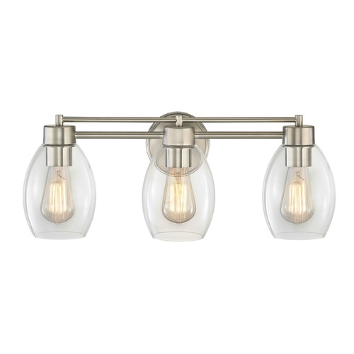 Design Classics Lighting Satin Nickel Bathroom Light 703-09 GL1034-CLR