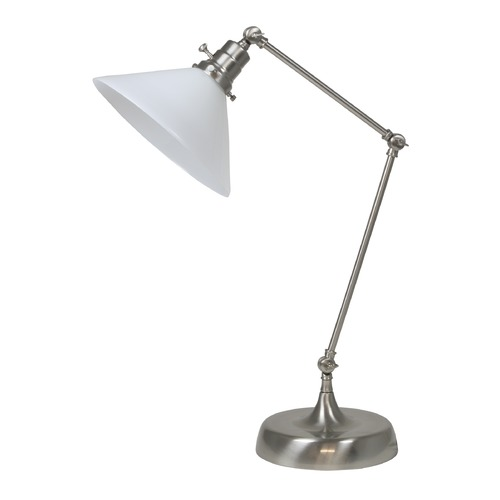 House of Troy Lighting House Of Troy Otis Satin Nickel Table Lamp with Conical Shade OT650-SN-WT