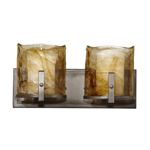 Feiss Lighting Modern Bathroom Light with Art Glass in Roman Bronze Finish VS18902-RBZ