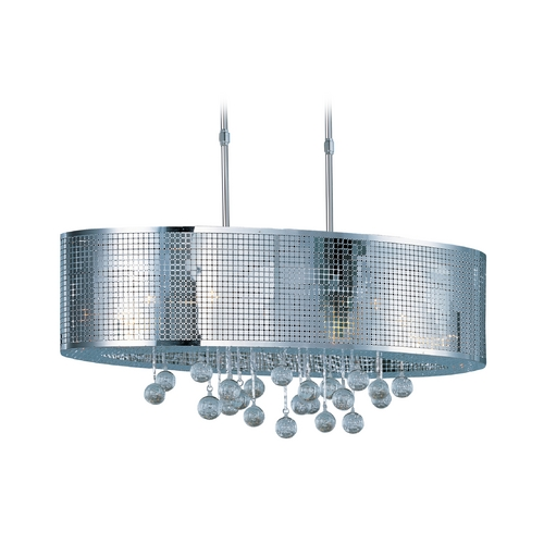 ET2 Lighting Modern Drum Pendant Light in Polished Chrome Finish E24389-91PC
