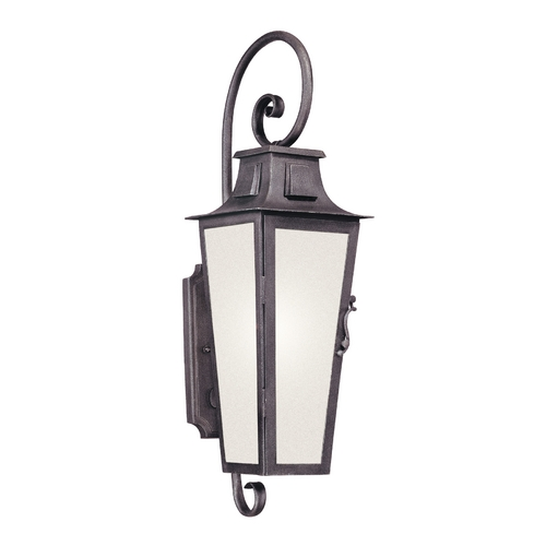 Troy Lighting Outdoor Wall Light with White Glass in Aged Pewter Finish BF2962