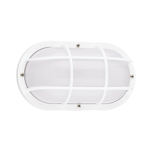 Sea Gull Lighting Energy Star Rated Oval White Bulkhead Light Fixture  89806BLE-15