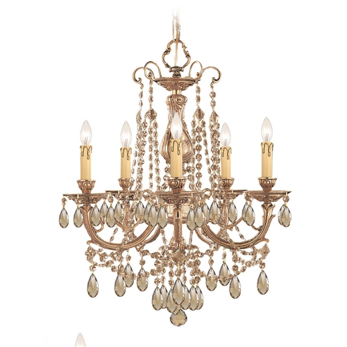 Crystorama Lighting Crystal Mini-Chandelier in Olde Brass Finish 475-OB-GT-MWP