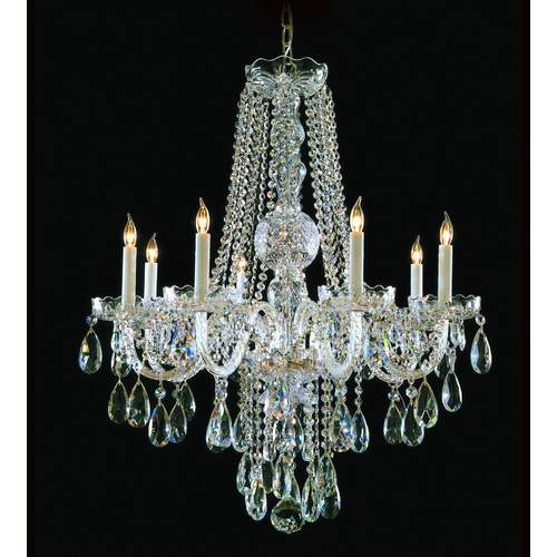 Crystorama Lighting Crystal Chandelier in Polished Brass Finish 1108-PB-CL-S