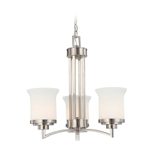 Nuvo Lighting Modern Mini-Chandelier with White Glass in Brushed Nickel Finish 60/4104