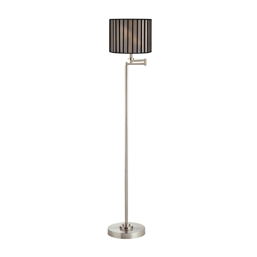 Design Classics Lighting Swing Arm Floor Lamp with Black and White Lamp Shade 1901-09 SH9548