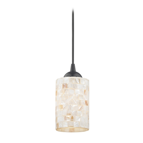 Mosaic mini pendant light with cylinder glass in black finish