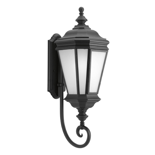 Progress Lighting Outdoor Wall Light with White Glass in Black Finish P6613-31