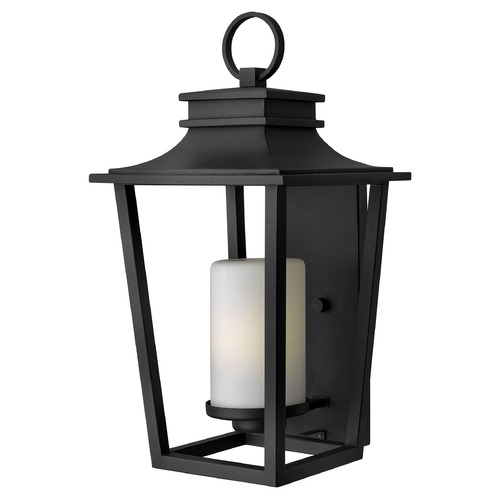 Hinkley Outdoor Wall Light with White Glass in Black Finish 1745BK