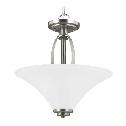 Sea Gull Lighting Sea Gull Lighting Metcalf Brushed Nickel Pendant Light with Coolie Shade 7713202-962
