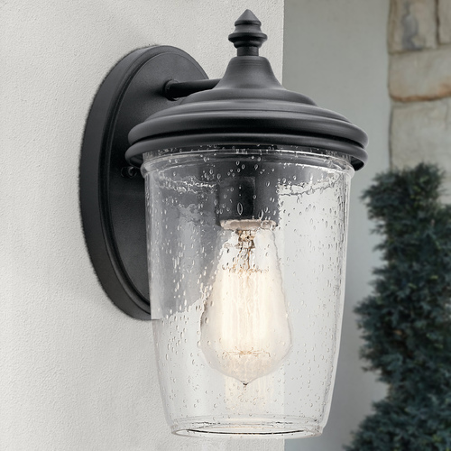 Kichler Lighting Seeded Glass Outdoor Wall Light Black Kichler Lighting 49820BKT