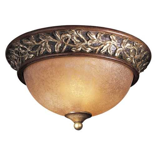 Minka Lavery Flushmount Light with Beige / Cream Glass in Florence Patina Finish 1569-477