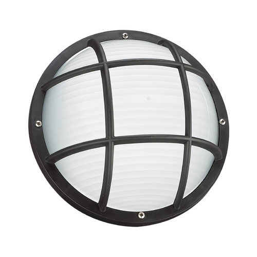 Sea Gull Lighting Energy Star Rated Round Bulkhead Light Fixture with Ribbed Diffuser 89807BLE-12
