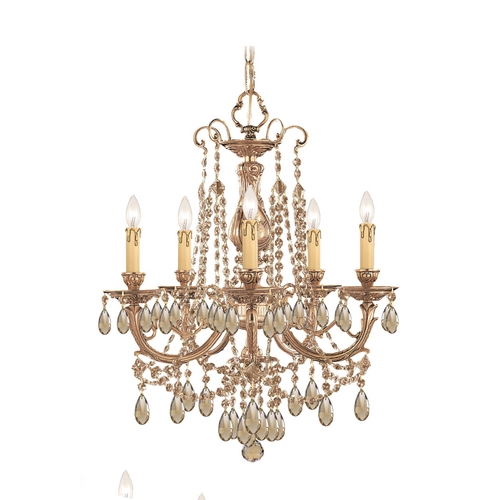 Crystorama Lighting Crystal Mini-Chandelier in Olde Brass Finish 475-OB-GTS
