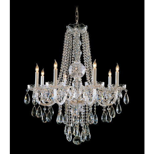 Crystorama Lighting Crystal Chandelier in Polished Brass Finish 1108-PB-CL-SAQ