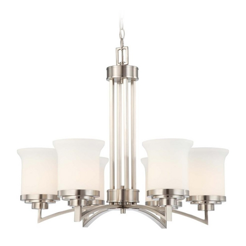 Nuvo Lighting Modern Chandelier with White Glass in Brushed Nickel Finish 60/4105