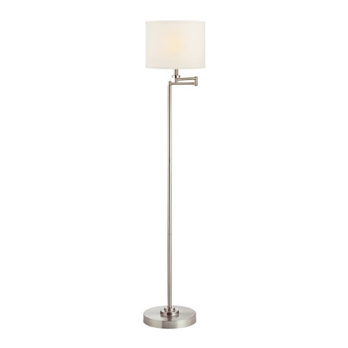 Design Classics Lighting Swing Arm Floor Lamp with White Linen Drum Lamp Shade 1901-09 SH9554